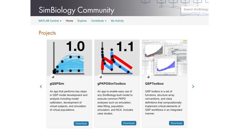 SimBiology 온라인 커뮤니티의 커뮤니티 기여 툴.