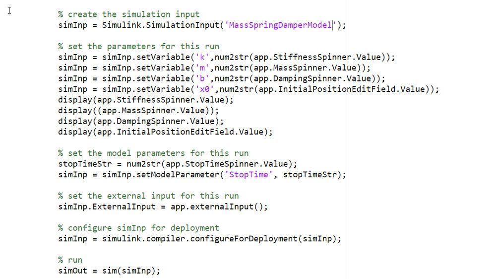 SimulationInput 객체를 사용한 시뮬레이션 입력값과 파라미터 정의.