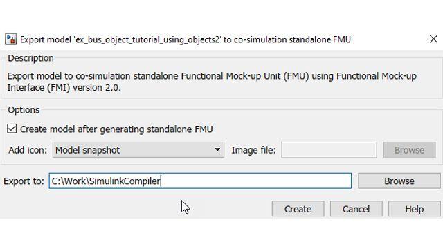 생성된 FMU를 생성 후에 자동으로 다시 Simulink로 가져오는 옵션.