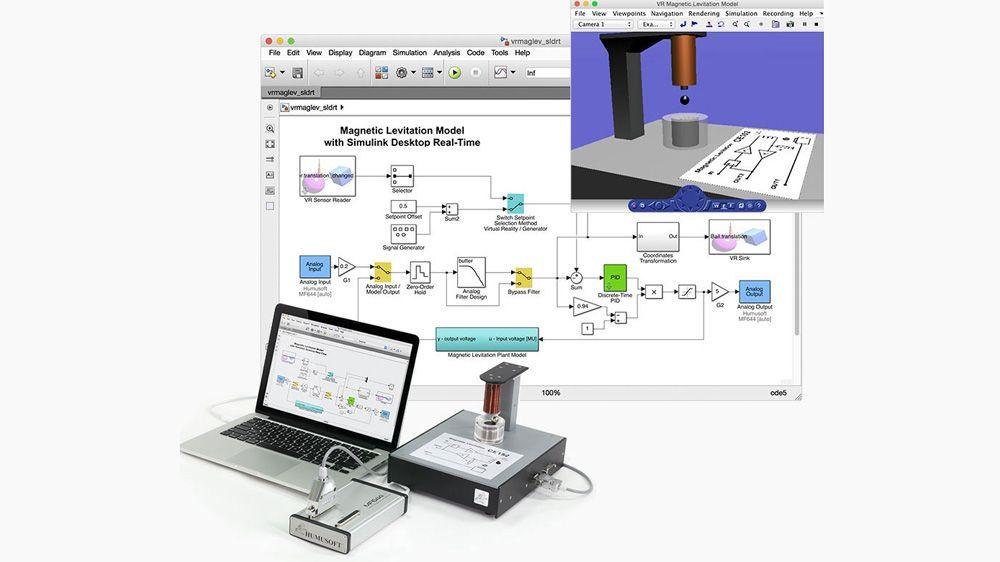자기부상 제어 실험. 모델은 아날로그 입력과 아날로그 출력 블록을 이용하여 외부 하드웨어와 연결