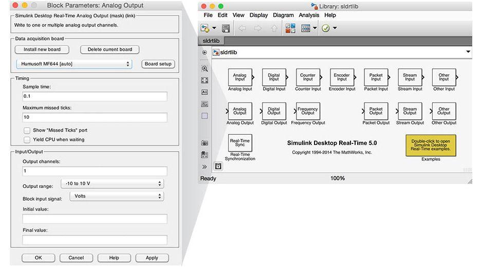 Simulink Desktop Real-Time 블록 라이브러리.