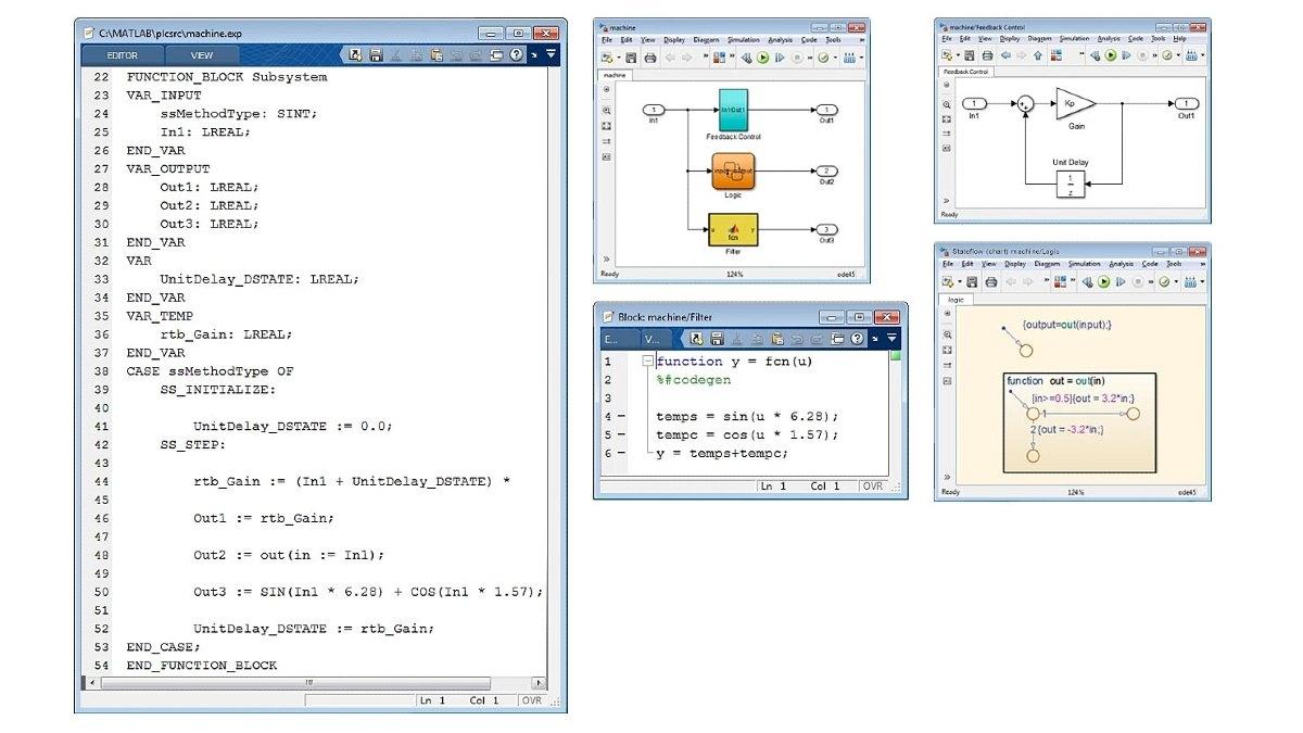 최적화 구조 텍스트(ST)를 생성하는 예제입니다. Simulink PLC Coder는 Simulink, Stateflow 및 MATLAB 함수에 대한 최적화되고 잘 통합된 코드를 생성합니다.