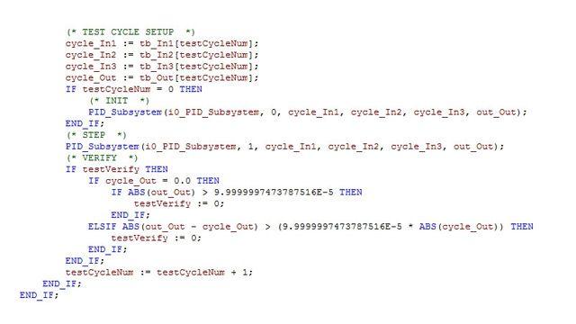 테스트 하네스(Harness)는 모델의 시뮬레이션 결과가 허용 오차 내에서 구조 텍스트(ST)와 래더 다이어그램으로 실행된 결과가 일치하는지 검증하기 위해 생성됩니다.