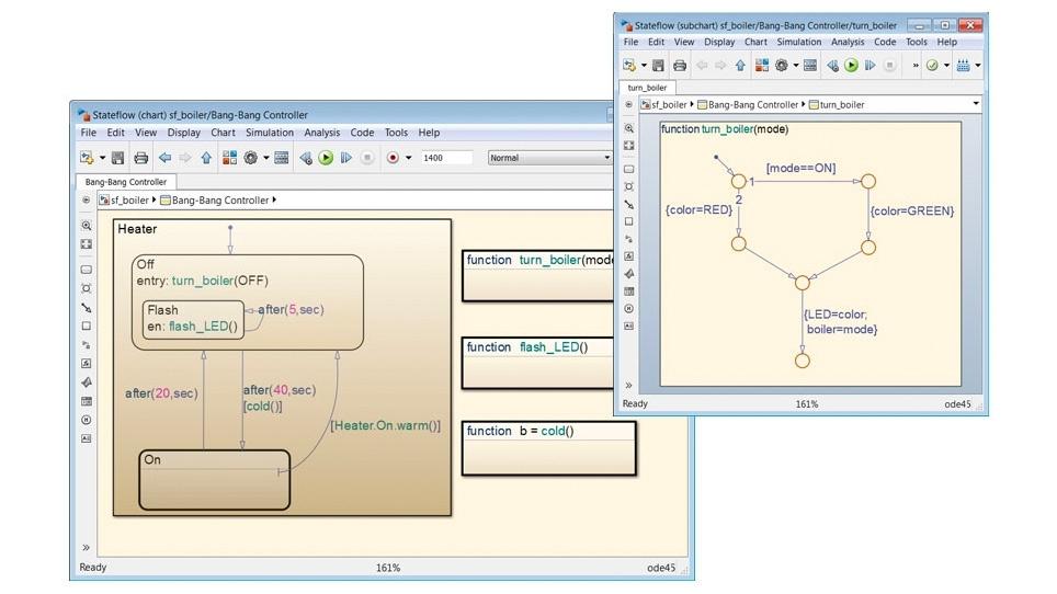 보일러 온도 제어 시스템의 로직을 정의하는 Stateflow 다이어그램. 이 다이어그램은 그래픽 함수(오른쪽)를 사용하여 히터 시스템(왼쪽)에서 호출되는 유틸리티 알고리즘을 구현합니다.