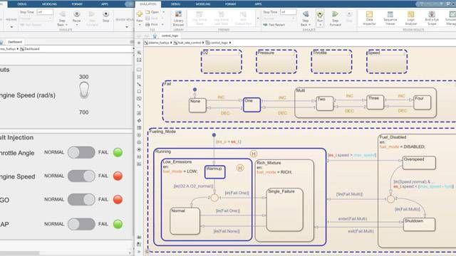 상태 다이어그램에서 단계별로 시뮬레이션을 수행하고 데이터를 모니터링합니다.