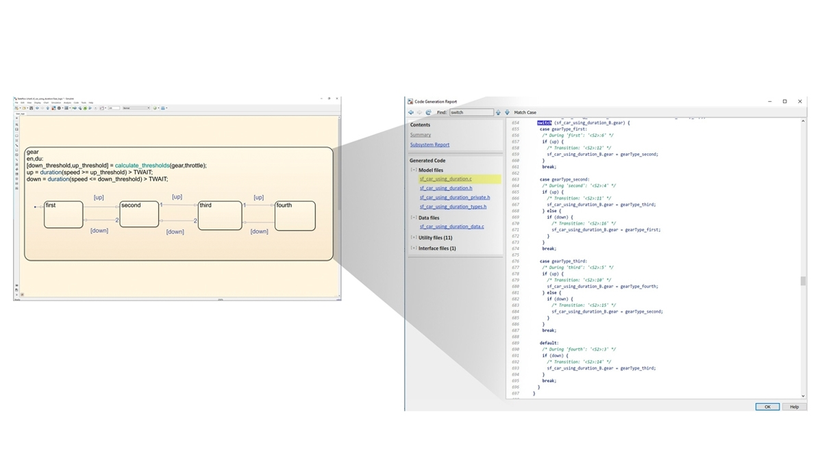 Stateflow 로직을 구현하는 코드를 생성합니다.