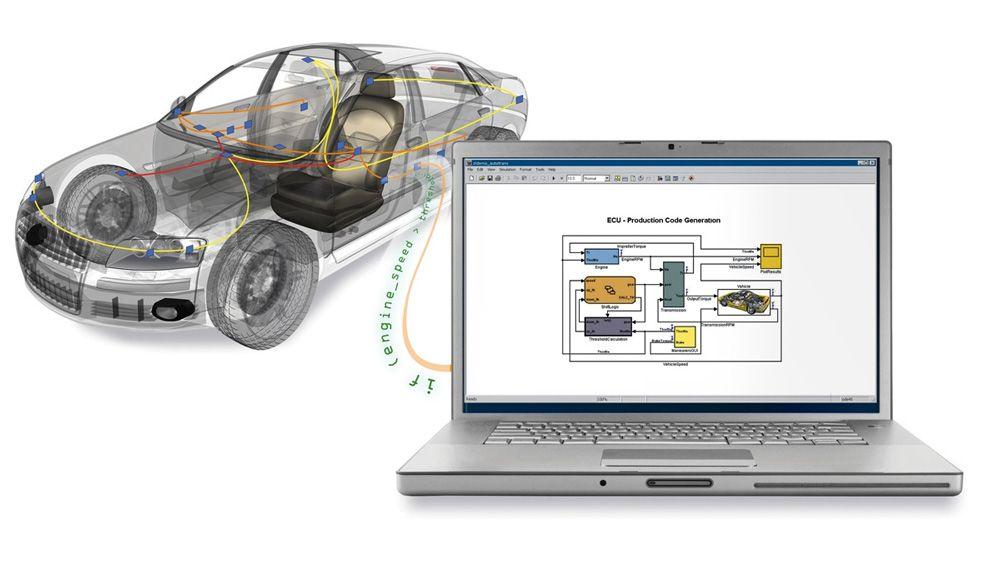 MATLAB 및 Simulink에서 차량 버스 데이터에 액세스하는 데 사용 중인 랩탑에 연결된 자동차.