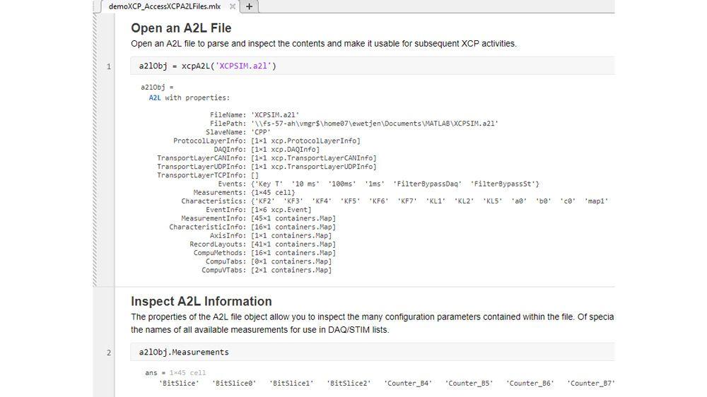 XCP 연결에 사용할 수 있도록 A2L 파일에 저장된 정보에 액세스하는 방법을 보여주는 코드의 예.