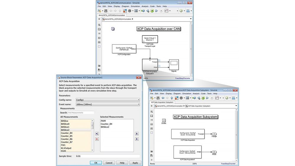 XCP 데이터 수집을 구성하는 XCP Data Acquisition 블록 마스크와 Simulink 모델을 보여주는 세 개의 창.
