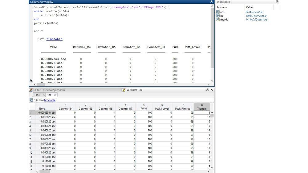 preview 함수와 변수 편집기로 MDF 파일을 검사하는 MATLAB 인터페이스.