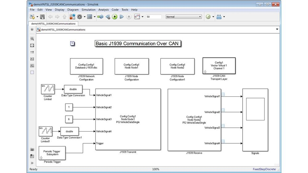 J1939 Transmit 블록과 J1939 Receive 블록을 사용하여 J1939 데이터를 송수신하는 모델. 이 모델은 또한 J1939 Network Configuration, J1939 CAN Transport Layer Configuration 및 J1939 Node Configuration 블록을 사용하여 통신을 설정합니다.