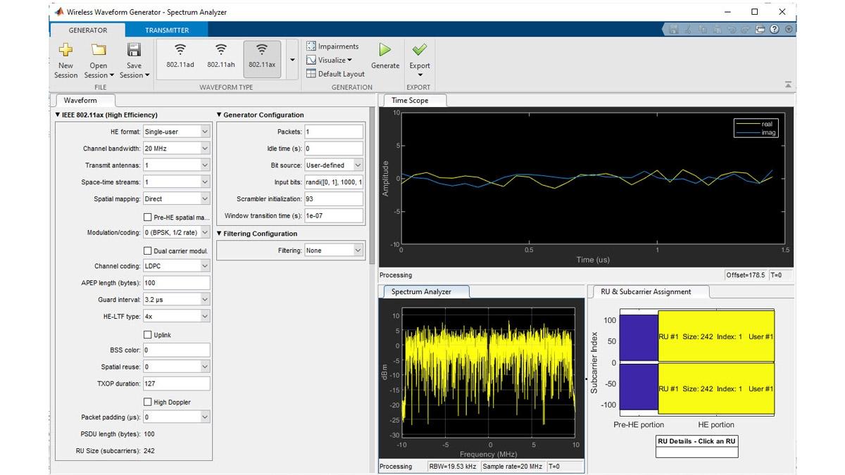 Wireless Waveform Generator 앱을 사용한 802.11ax 파형 생성.