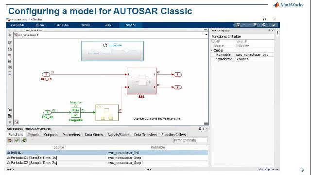 AUTOSAR Classic 및 Adaptive 소프트웨어 응용 프로그램 모델링, AUTOSAR 소프트웨어 아키텍처 작성, AUTOSAR 컴포지션 및 ECU 시뮬레이션, C/C++ 생산 코드 생성 등 AUTOSAR 기능을 위한 Simulink의 고급 지원을 알아볼 수 있습니다.