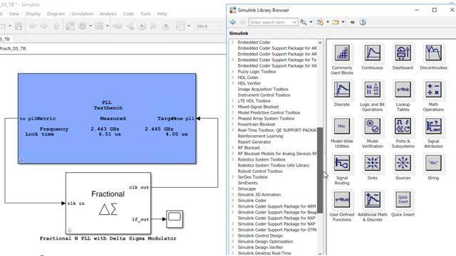 Mixed-Signal Blockset이 포함된 ADC 및 PLL과 같은 아날로그 및 혼합 신호 시스템 설계 및 시뮬레이션.