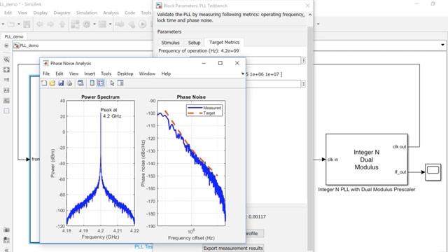 Mixed-Signal Blockset을 사용하여 4GHz에서 작동하는 이중 모듈러스 프리스케일러가 있는 COTS(commercial off-the-shelf) integer-N PLL을 모델링합니다. 위상 잡음, 잠금 시간 및 작동 주파수를 비롯한 PLL 성능을 검증합니다.