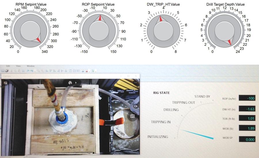 Simulink Real-Time Explorer에서 만들어진 시추 상태 시각화 및 Simulink에서 만들어진 수동 제어