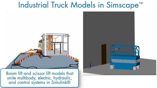 Engineers can use Simscape to design and test industrial trucks in a virtual environment. They can develop and automatically analyze designs and testing scenarios in Simulink. Learn about some of the tasks that can be performed with Simscape models.