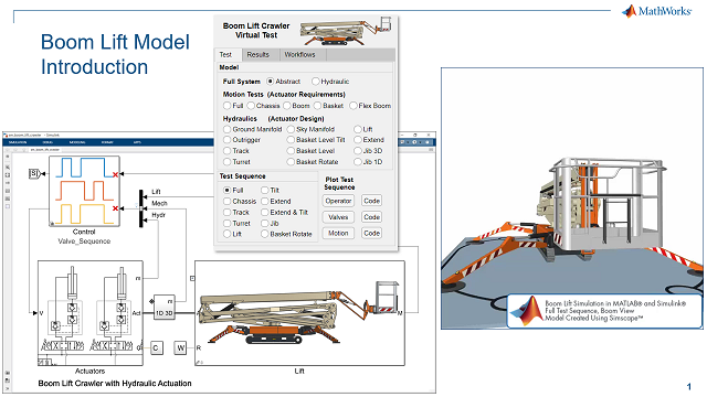 유압 네트워크의 액추에이터나 일부분을 개별적으로 테스트할 수 있는 다양한 소규모 모델 등 Simscape에서 만든 붐 리프트 모델을 살펴봅니다. 이를 통해 시뮬레이션 시간을 단축하여 짧은 시간 안에 더 많은 테스트 및 정교화가 가능합니다.