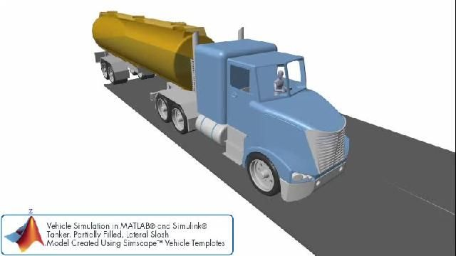측면 슬로시가 있는 탱커 트레일러의 차량 시뮬레이션.