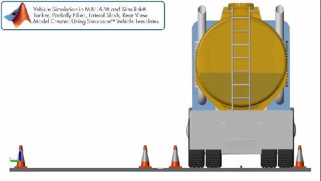 측면 슬로시가 있는 탱커 트레일러를 후면에서 관찰한 차량 시뮬레이션.