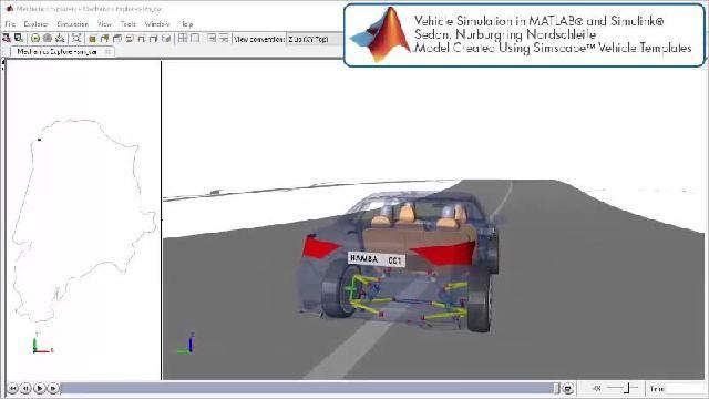 Simscape를 사용한 레이싱 트랙 시뮬레이션을 애니메이션으로 확인할 수 있습니다.