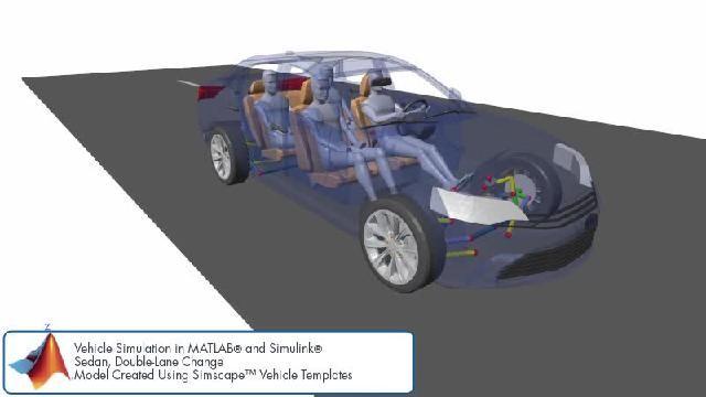 Simscape를 사용한 이중 차선 변경 시뮬레이션을 애니메이션으로 확인할 수 있습니다.