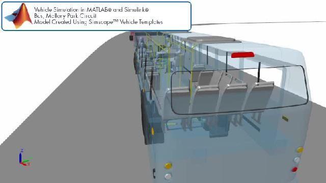 Simscape를 사용한 레이싱 트랙 버스 시뮬레이션을 애니메이션으로 확인할 수 있습니다.