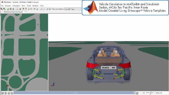 Simscape를 사용한 자율주행 시뮬레이션을 애니메이션으로 확인할 수 있습니다.