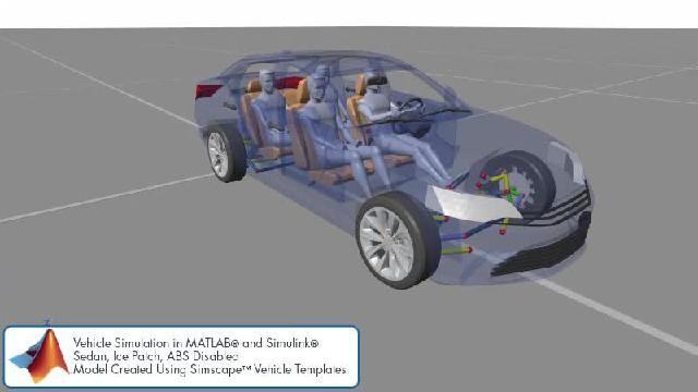 Simscape를 사용한 섀시 제어 시뮬레이션을 애니메이션으로 확인할 수 있습니다.