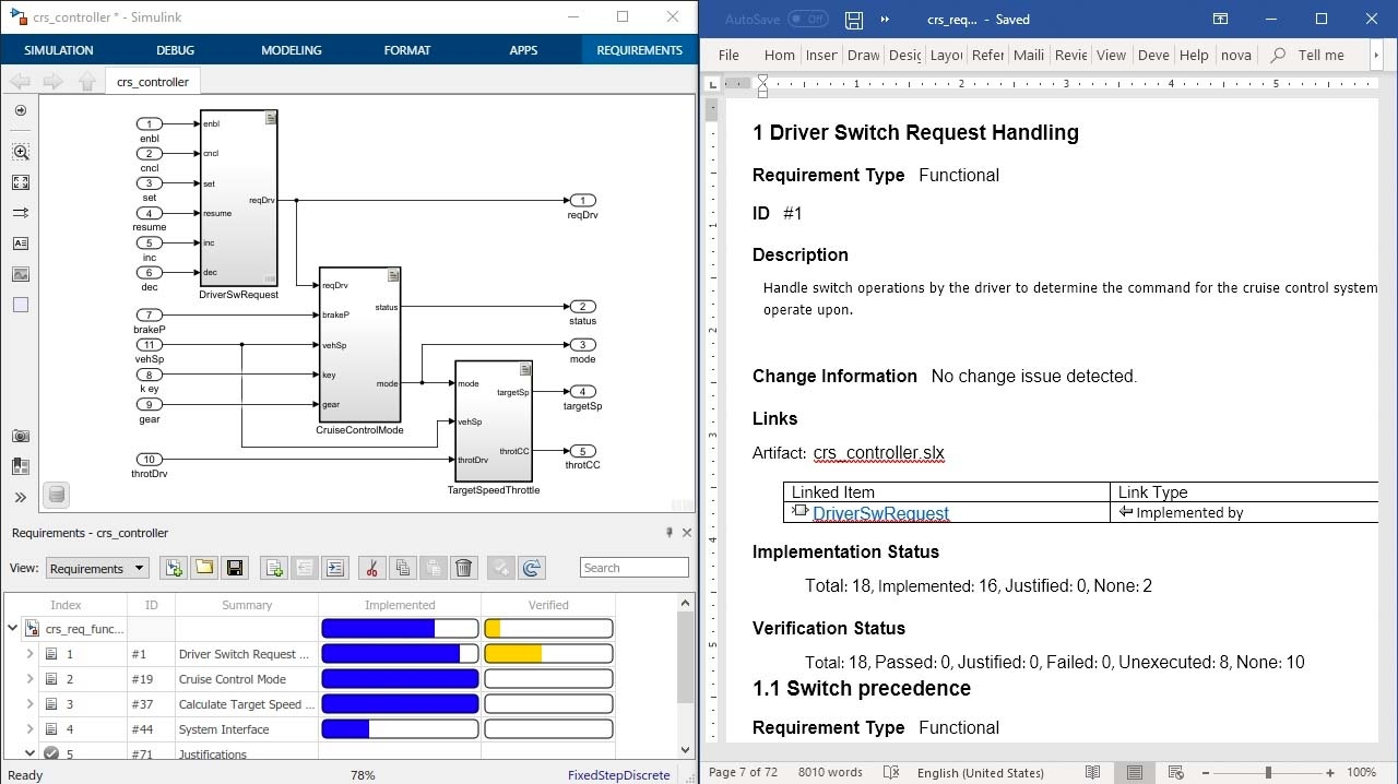 Simulink Requirements의 리포트를 사용하여 검토를 위해 요구 사항을 기록하고, 요구 사항 특성, 상태, 설계/코딩/텍스트 추적을 포함하십시오.