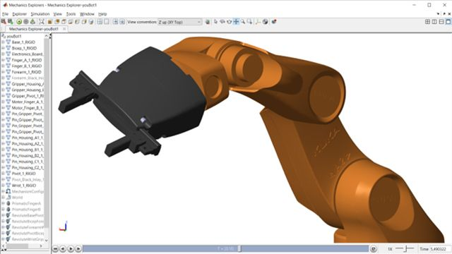 Refine requirements and design controllers using Simscape Multibody. Example applications include a robotic arm, a backhoe, and a tower crane.