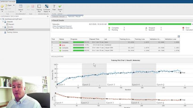 Experiment Manager is an app for training, fine-tuning, and explaining your deep learning networks under a variety of initial conditions.