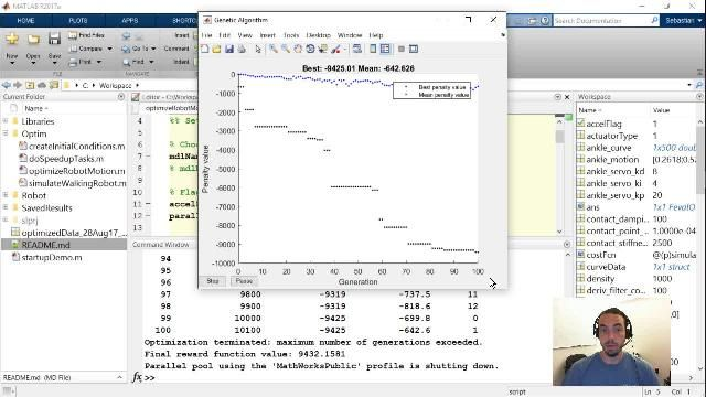 Join Sebastian Castro as he shows you how you can use MATLAB and the Global Optimization Toolbox to find optimal motion trajectories for a Simulink model of a walking robot.