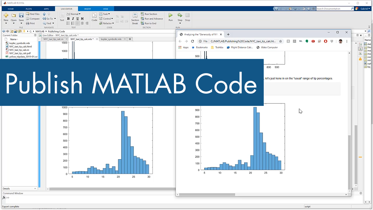 Share your work by publishing MATLAB code from the MATLAB Editor to HTML and other formats.
