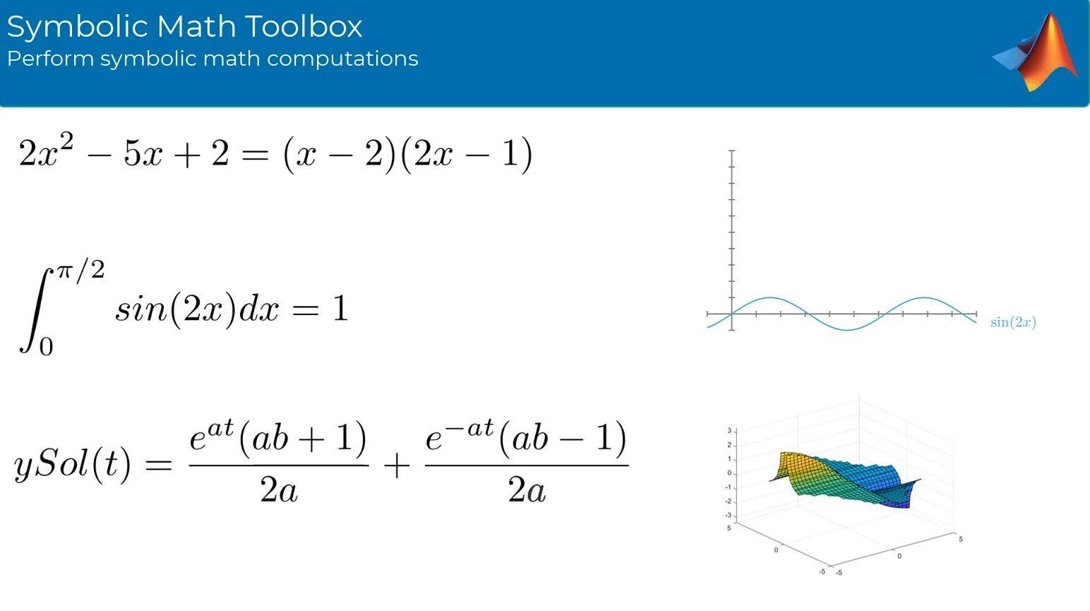 Perform symbolic math computations using Symbolic Math Toolbox. The toolbox provides functions for solving, plotting, and manipulating symbolic math equations.